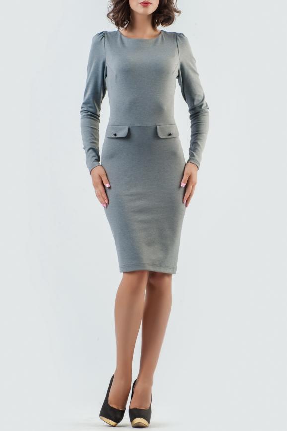 Офисное платье футляр серого цвета 944-1.47|интернет-магазин vvlen.com