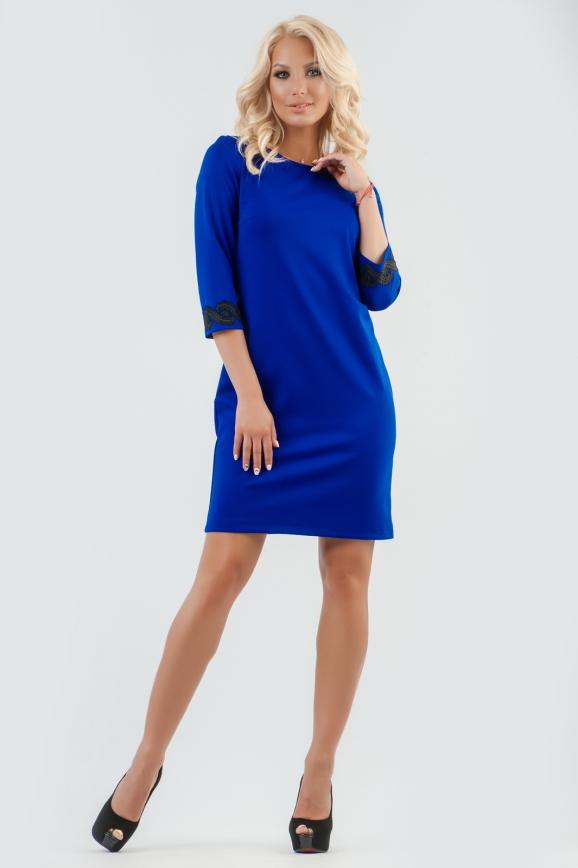 Повседневное платье футляр электрика цвета -2520.47|интернет-магазин vvlen.com