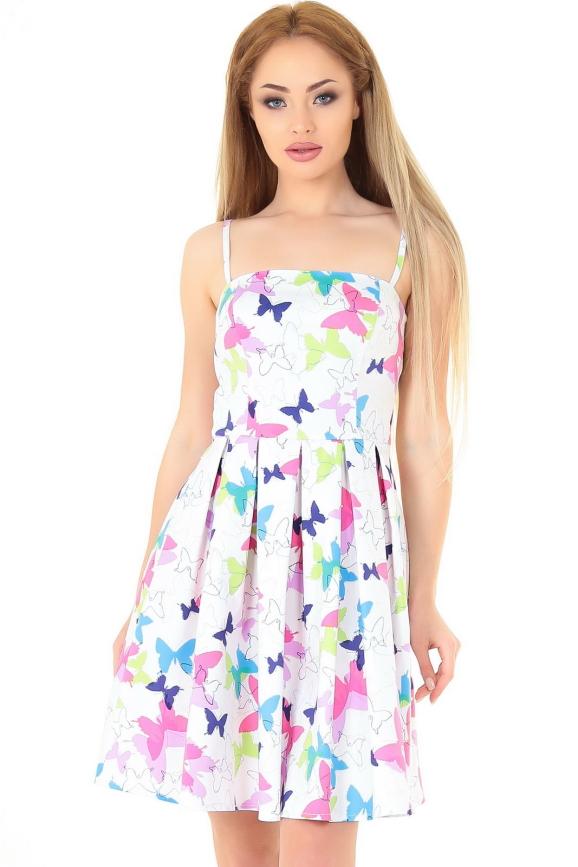 Коктейльное платье с расклешённой юбкой белого с малиновым цвета 879.9|интернет-магазин vvlen.com