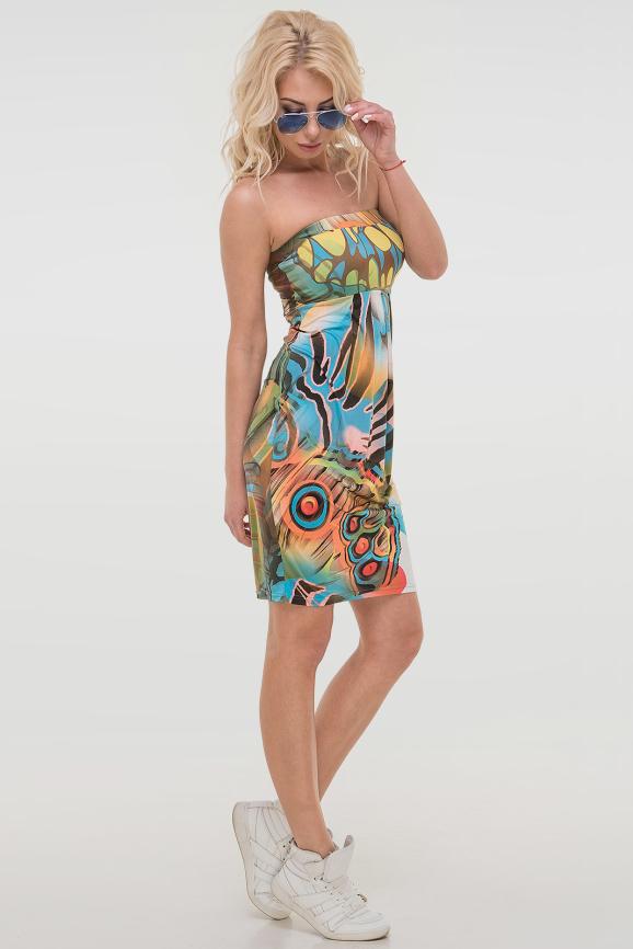 Летнее платье с открытыми плечами голубого тона цвета 842.33|интернет-магазин vvlen.com