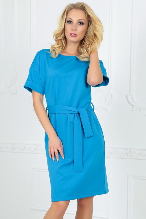 Повседневное платье футляр голубого с белым цвета интернет-магазин vvlen.com