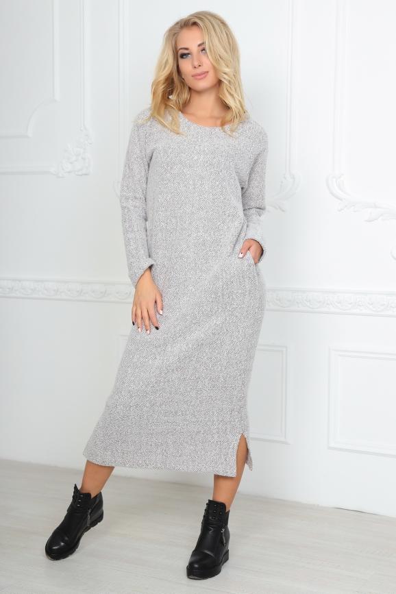 Повседневное платье  мешок бежевого цвета 2470.91 интернет-магазин vvlen.com