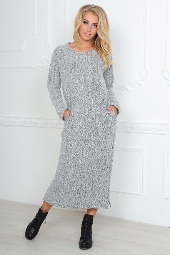 Повседневное платье-баллон серого цвета 2470.91|интернет-магазин vvlen.com