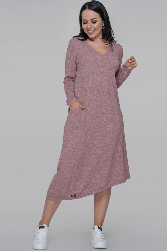 Повседневное платье трапеция фрезового цвета интернет-магазин vvlen.com