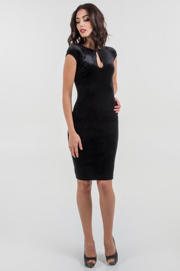 Коктейльное платье футляр черного цвета 1683.26|интернет-магазин vvlen.com