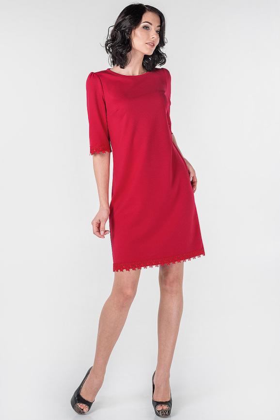 Коктейльное платье трапеция красного цвета 2525.47|интернет-магазин vvlen.com