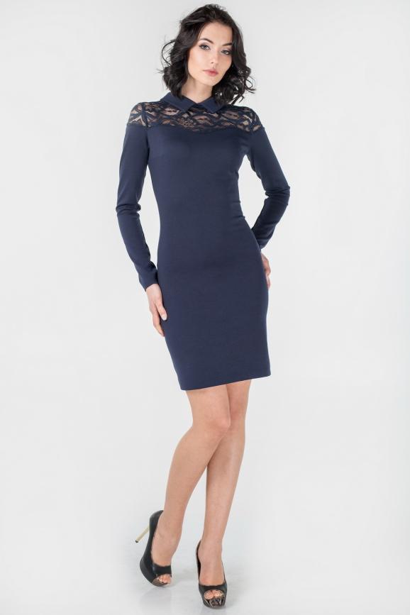Офисное платье футляр темно-синего цвета 1872-1.47|интернет-магазин vvlen.com