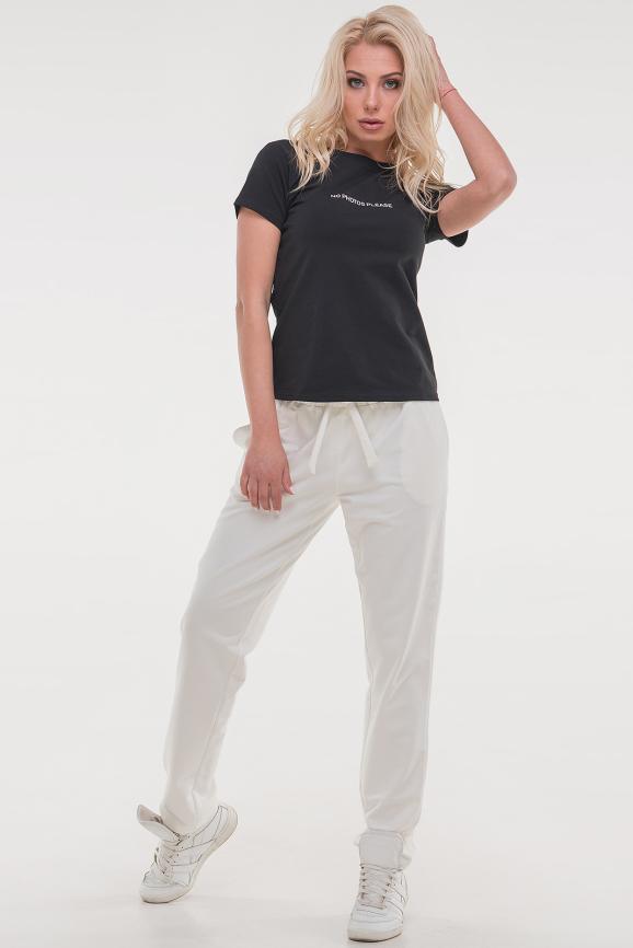 Женская футболка черного цвета 021|интернет-магазин vvlen.com