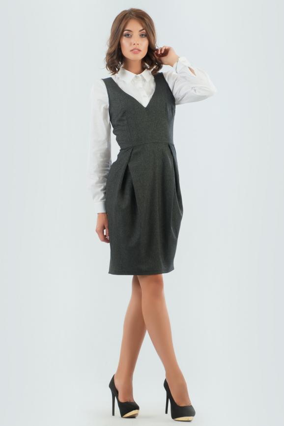 Офисное платье футляр темно-серого цвета 935.23-4 интернет-магазин vvlen.com