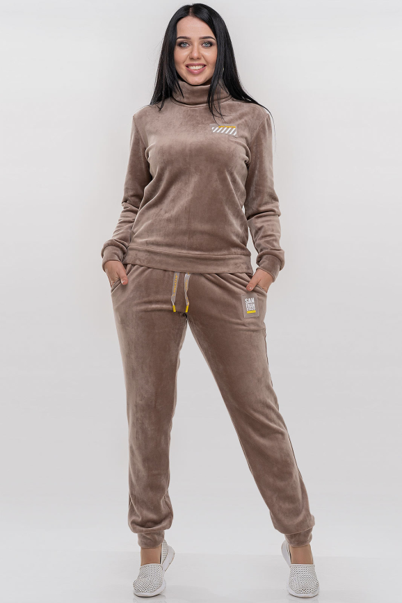 Спортивный костюм бежевого цвета 2770.122|интернет-магазин vvlen.com