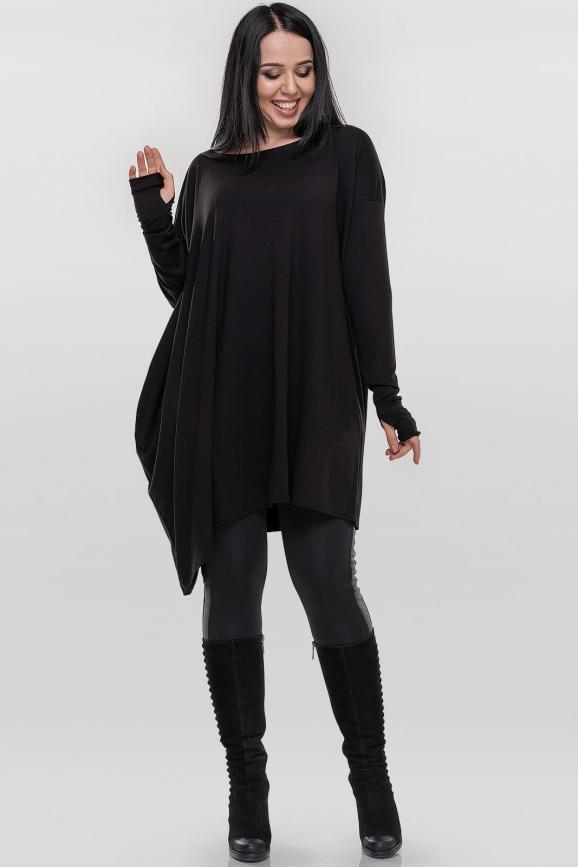 Туника асимметричная черного цвета 358|интернет-магазин vvlen.com