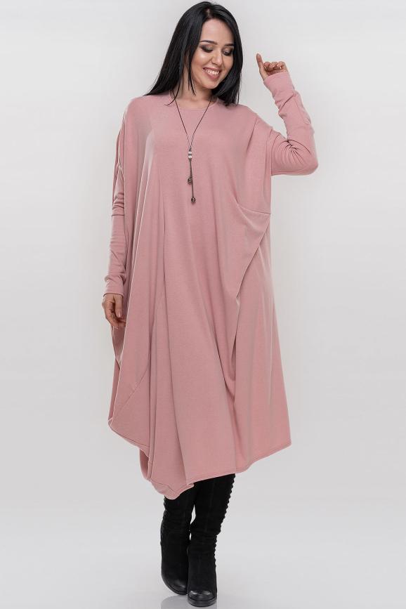 Платье оверсайз розового цвета 375.5|интернет-магазин vvlen.com