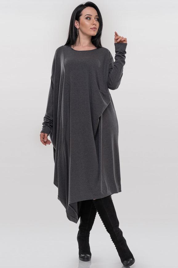 Платье оверсайз серого цвета 375.5|интернет-магазин vvlen.com