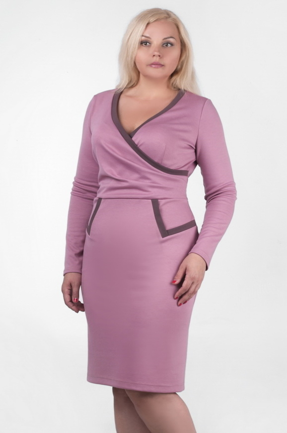 Офисное платье футляр фрезового цвета 2207.41|интернет-магазин vvlen.com