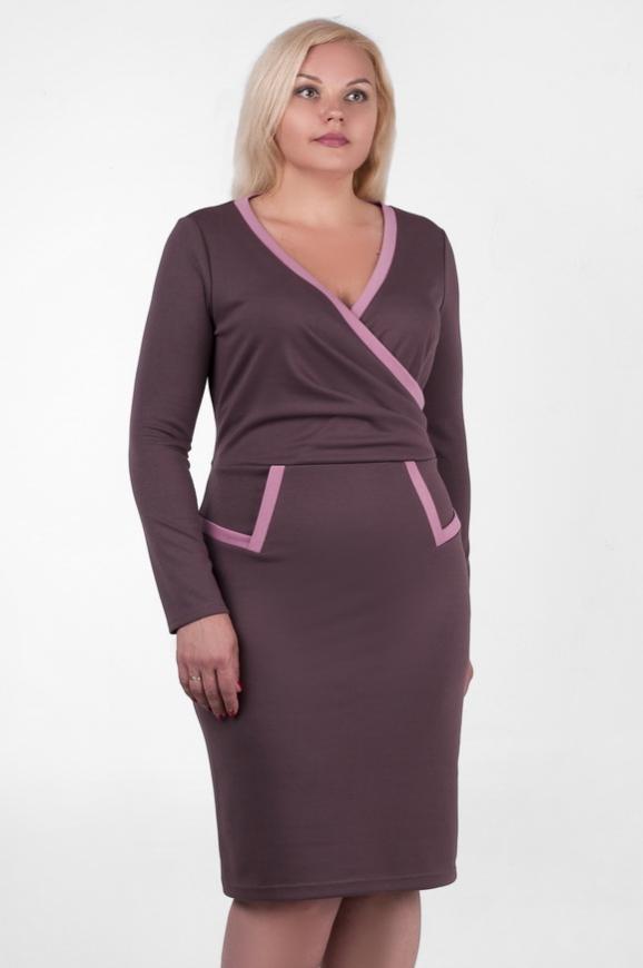 Офисное платье футляр сиреневого с черным цвета|интернет-магазин vvlen.com