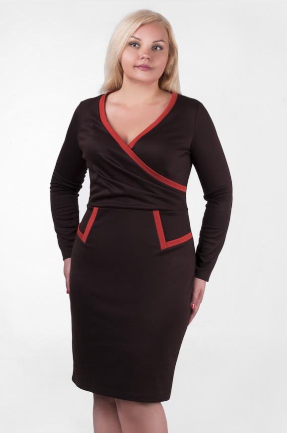Офисное платье футляр коричневого цвета 2207.56|интернет-магазин vvlen.com