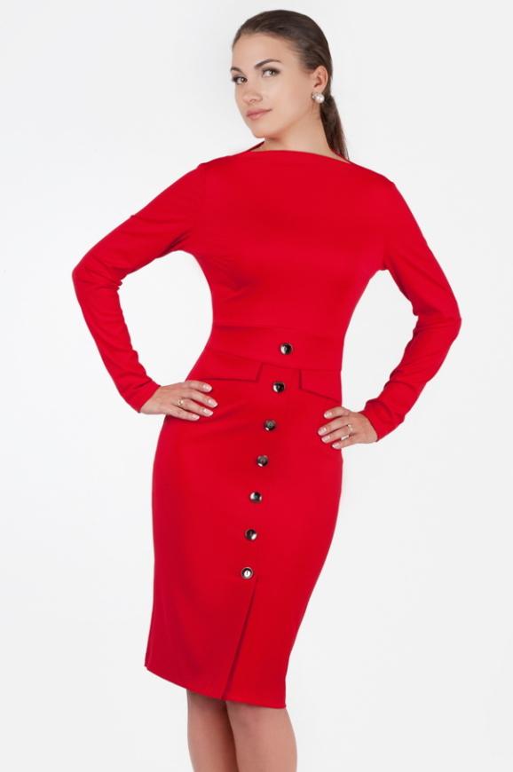 Офисное платье футляр красного цвета 2347.67|интернет-магазин vvlen.com