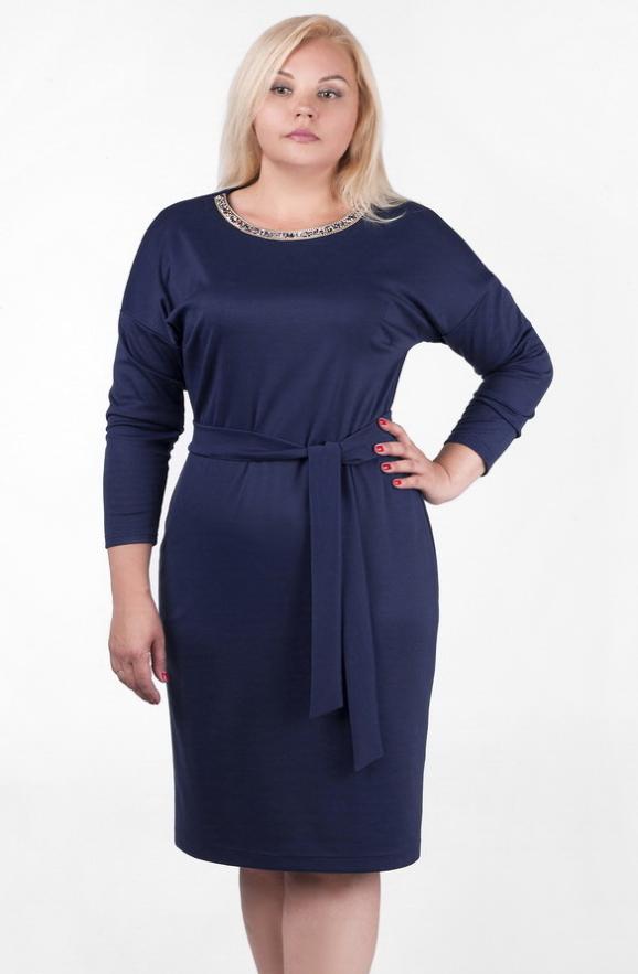 Платье футляр синего цвета 2350.41|интернет-магазин vvlen.com