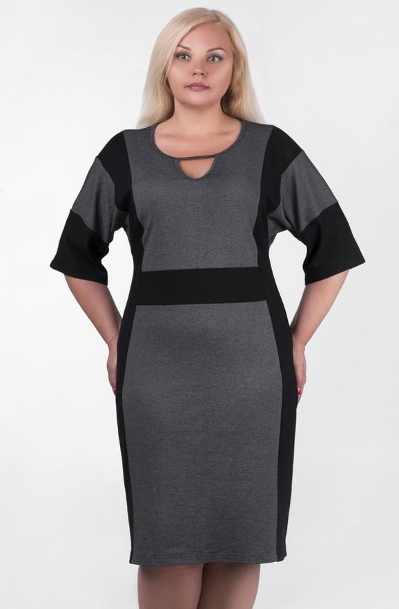 Платье футляр серого с черным цвета 2376.41|интернет-магазин vvlen.com