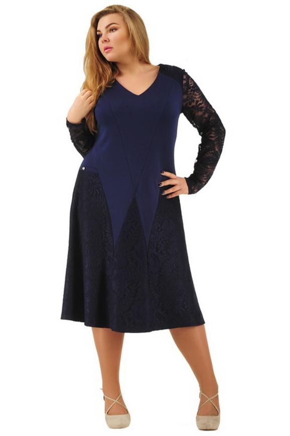 Платье с расклешённой юбкой синего цвета 2288.77|интернет-магазин vvlen.com