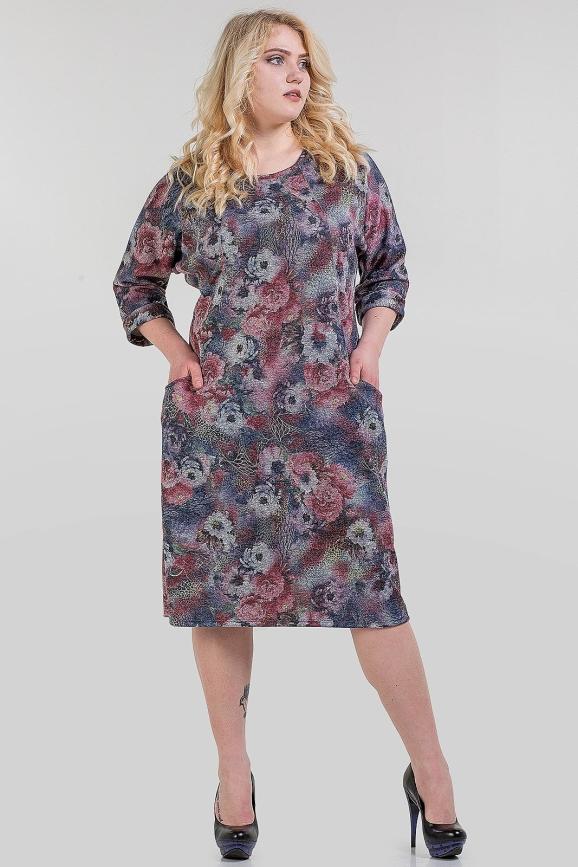 Платье футляр синего тона цвета 1-1317|интернет-магазин vvlen.com