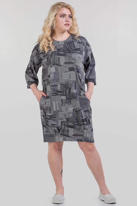 Платье  мешок серого цвета 1-1311|интернет-магазин vvlen.com