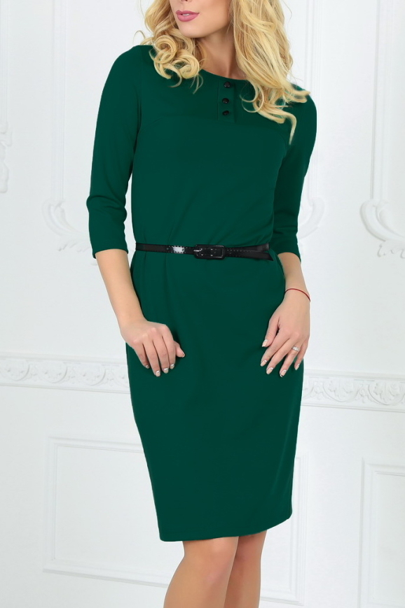 Офисное платье футляр темно-зеленого цвета|интернет-магазин vvlen.com