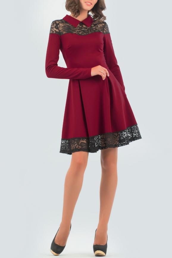 Офисное платье с расклешённой юбкой вишневого с черным цвета 1826-1.47|интернет-магазин vvlen.com
