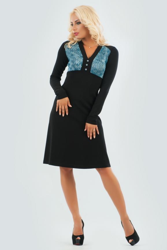 Офисное платье трапеция черного цвета|интернет-магазин vvlen.com