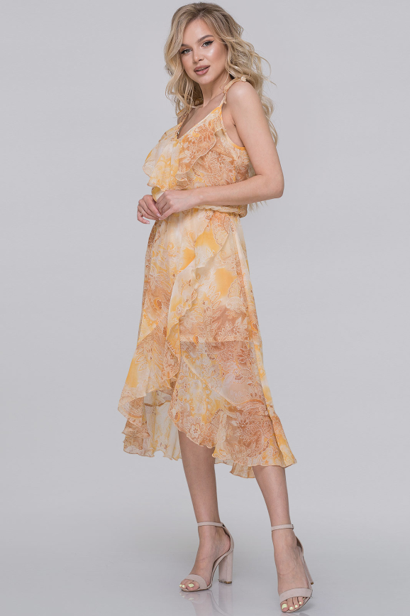 Летнее платье с юбкой на запах горчичный принт цвета|интернет-магазин vvlen.com