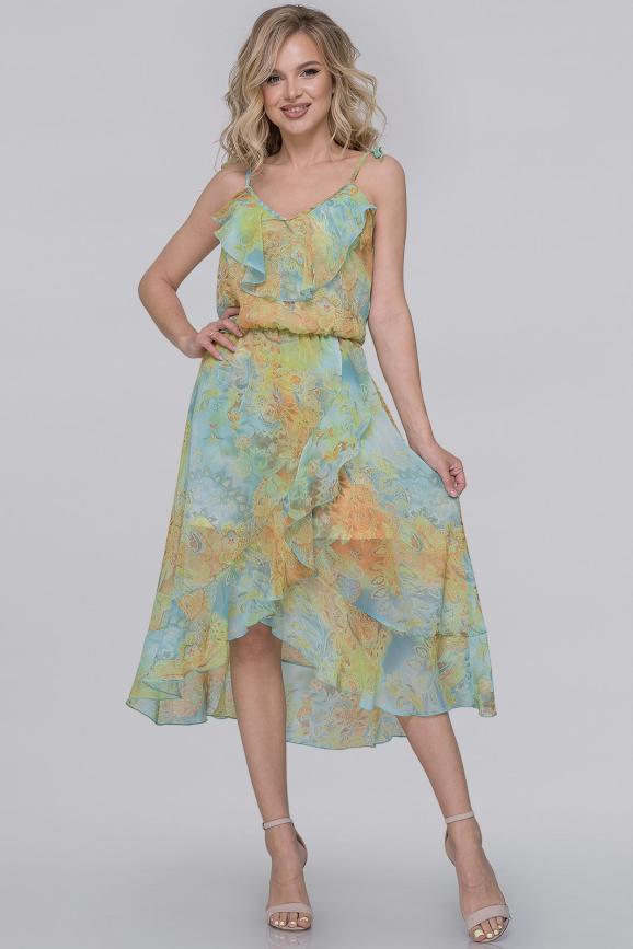 Летнее платье с юбкой на запах мятный принт цвета|интернет-магазин vvlen.com