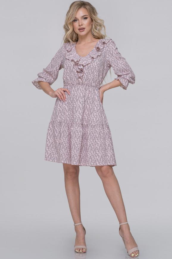Летнее платье с пышной юбкой фрезовый с серым цвета 2923.100|интернет-магазин vvlen.com