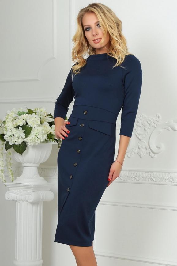 Офисное платье футляр темно-синего цвета интернет-магазин vvlen.com