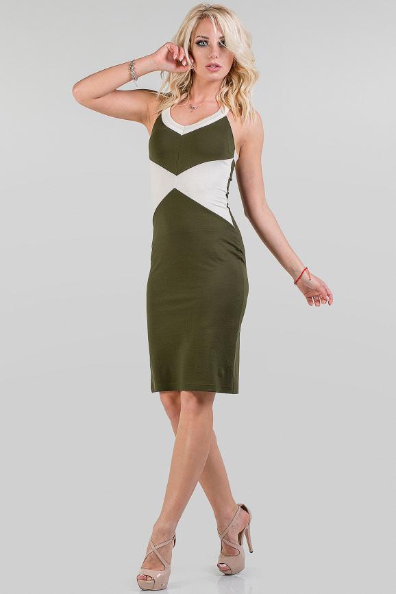 Летнее платье футляр хаки цвета|интернет-магазин vvlen.com