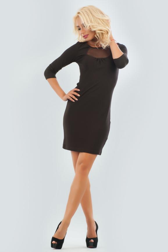 Повседневное платье футляр коричневого цвета|интернет-магазин vvlen.com