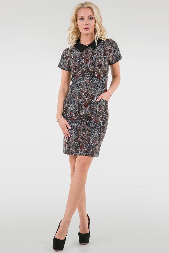Повседневное платье футляр черного с красным цвета|интернет-магазин vvlen.com