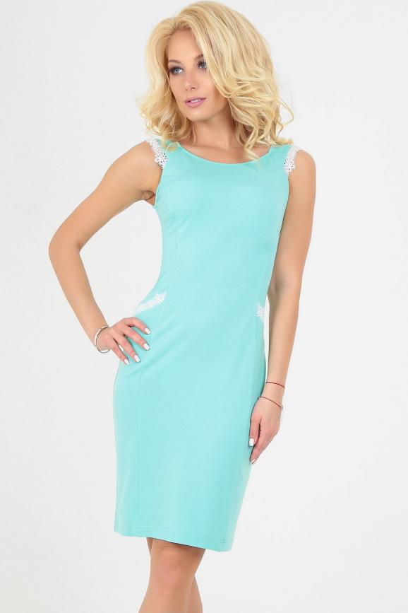 Летнее платье футляр мятного цвета 1792.2|интернет-магазин vvlen.com
