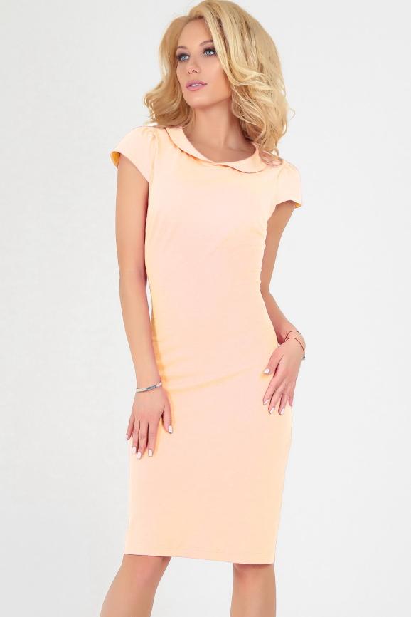 Летнее платье футляр персикового цвета|интернет-магазин vvlen.com
