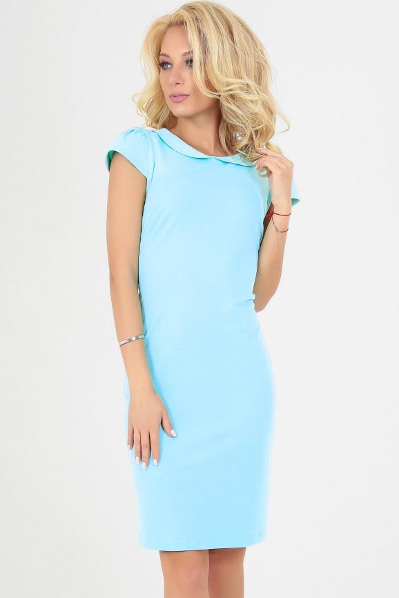 Летнее платье футляр голубого цвета 2022.2|интернет-магазин vvlen.com