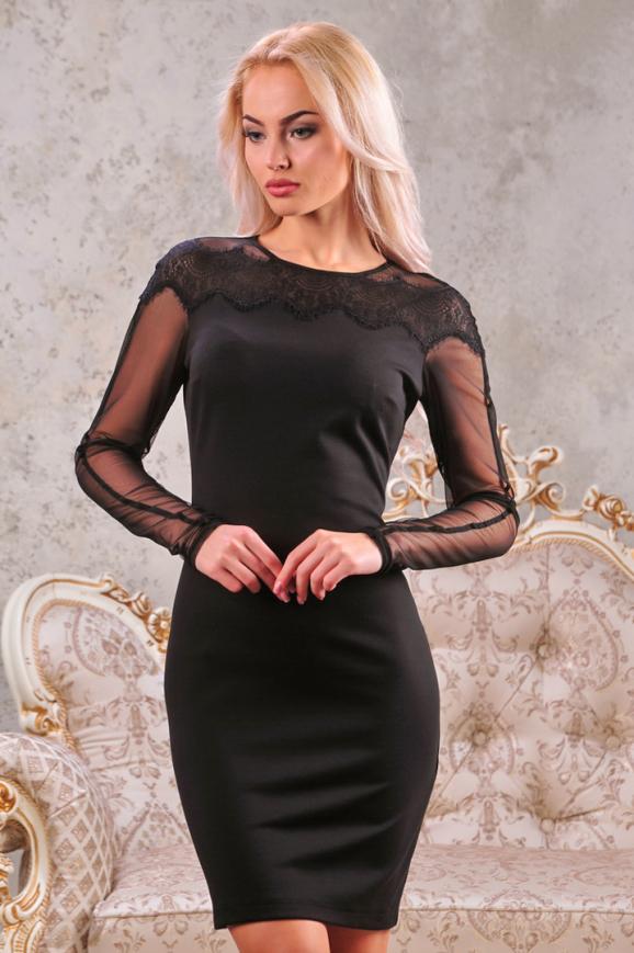 Коктейльное платье футляр черного цвета 2442.47 интернет-магазин vvlen.com