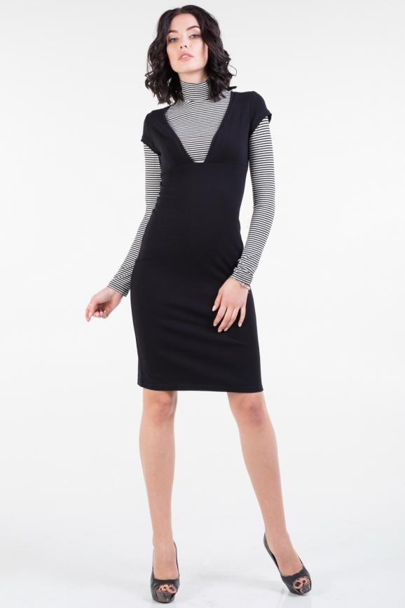 Повседневное платье гольф черного с белым цвета 496.1|интернет-магазин vvlen.com