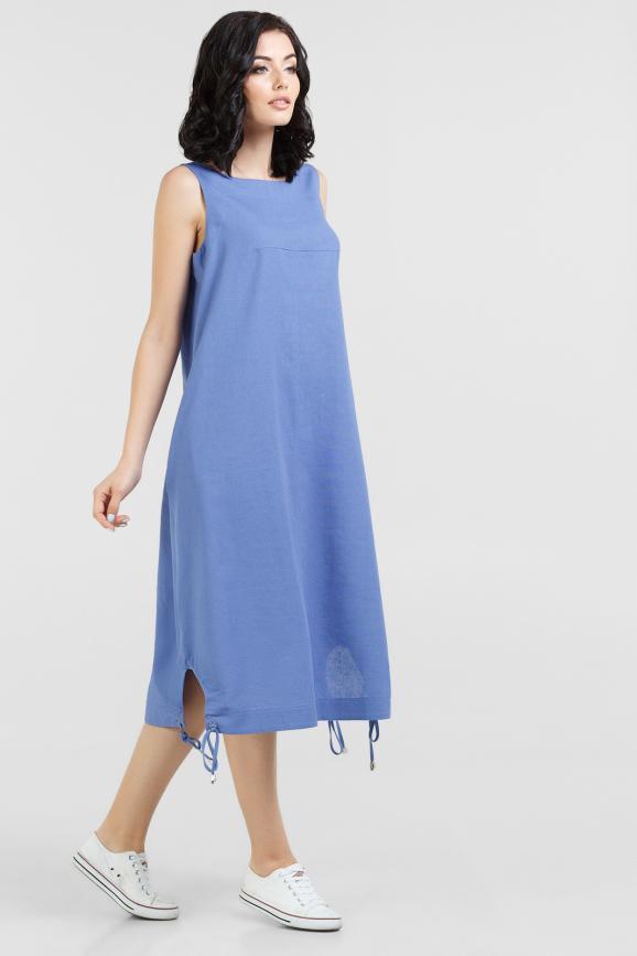 Летнее платье трапеция голубого цвета 2545.81|интернет-магазин vvlen.com