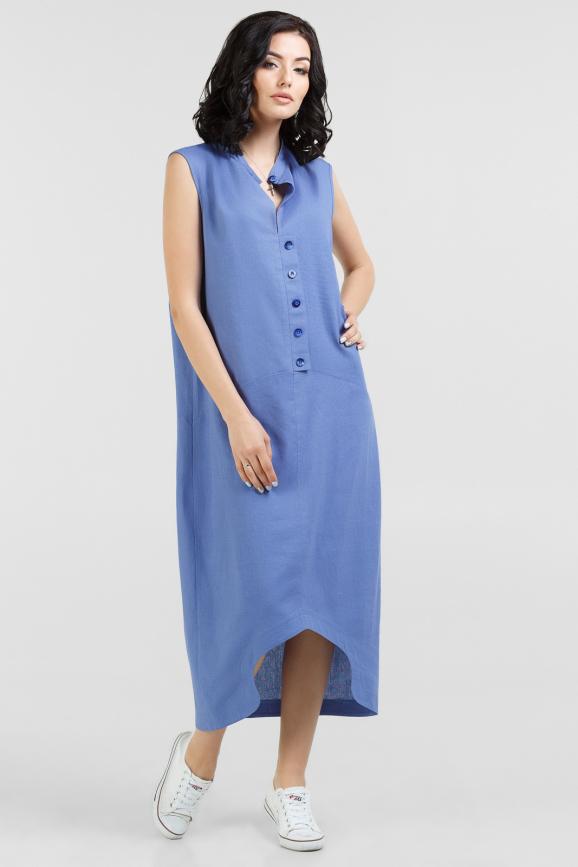 Летнее платье  мешок голубого цвета 2539-2.81|интернет-магазин vvlen.com