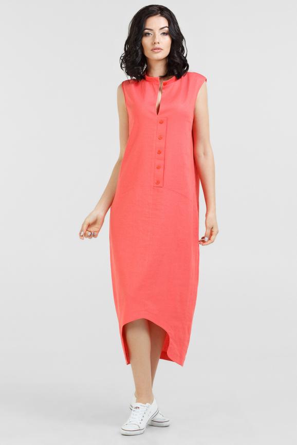 Повседневное платье балахон кораллового цвета 2539-2.81|интернет-магазин vvlen.com