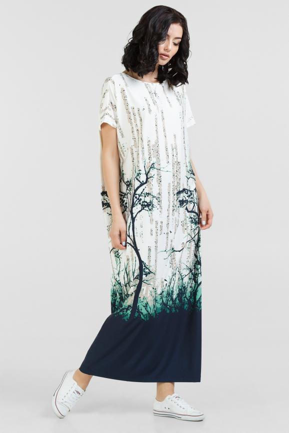 Летнее платье оверсайз молочного с синим цвета|интернет-магазин vvlen.com