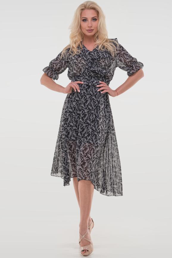 Летнее платье с длинной юбкой черного с белым цвета 112vl1|интернет-магазин vvlen.com