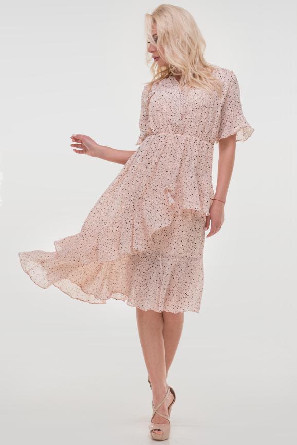 Летнее платье с длинной юбкой пудры цвета 114vl1|интернет-магазин vvlen.com