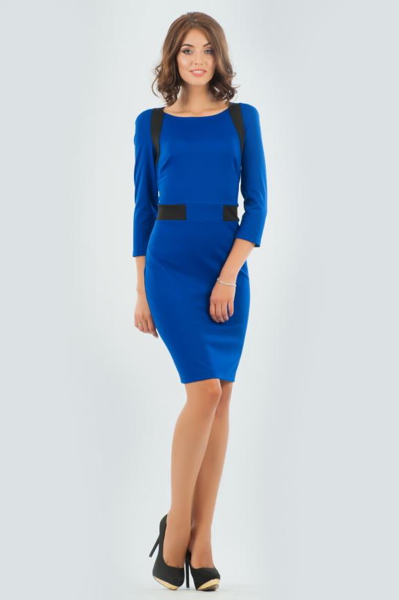 Повседневное платье футляр электрика цвета 1578-1.47|интернет-магазин vvlen.com