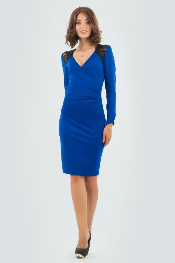 Коктейльное платье футляр электрика цвета 406.47|интернет-магазин vvlen.com