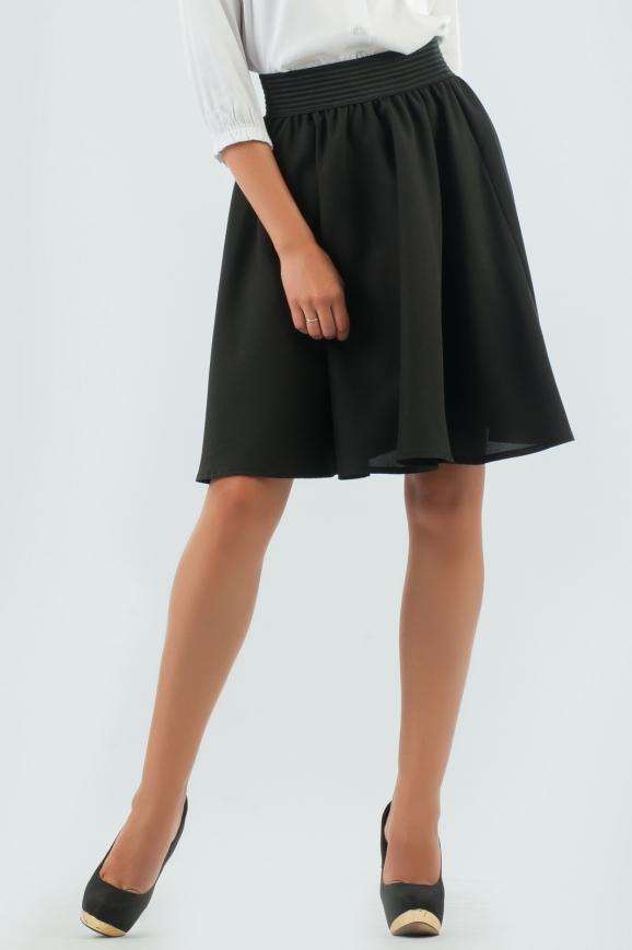 Юбка расклешенная  цвет черный |интернет-магазин vvlen.com